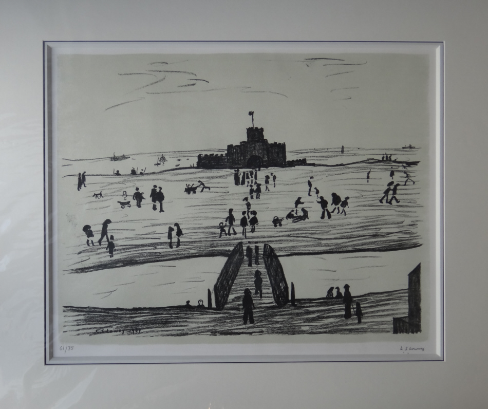 lowry castle on the sands lithograph