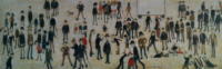 ls lowry crowd around a cricket sight board print