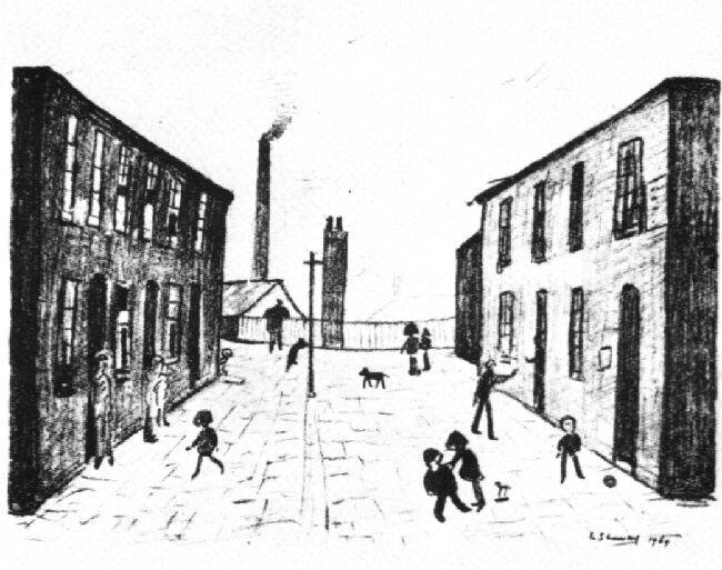 francis terrace, salford lithograph lslowry