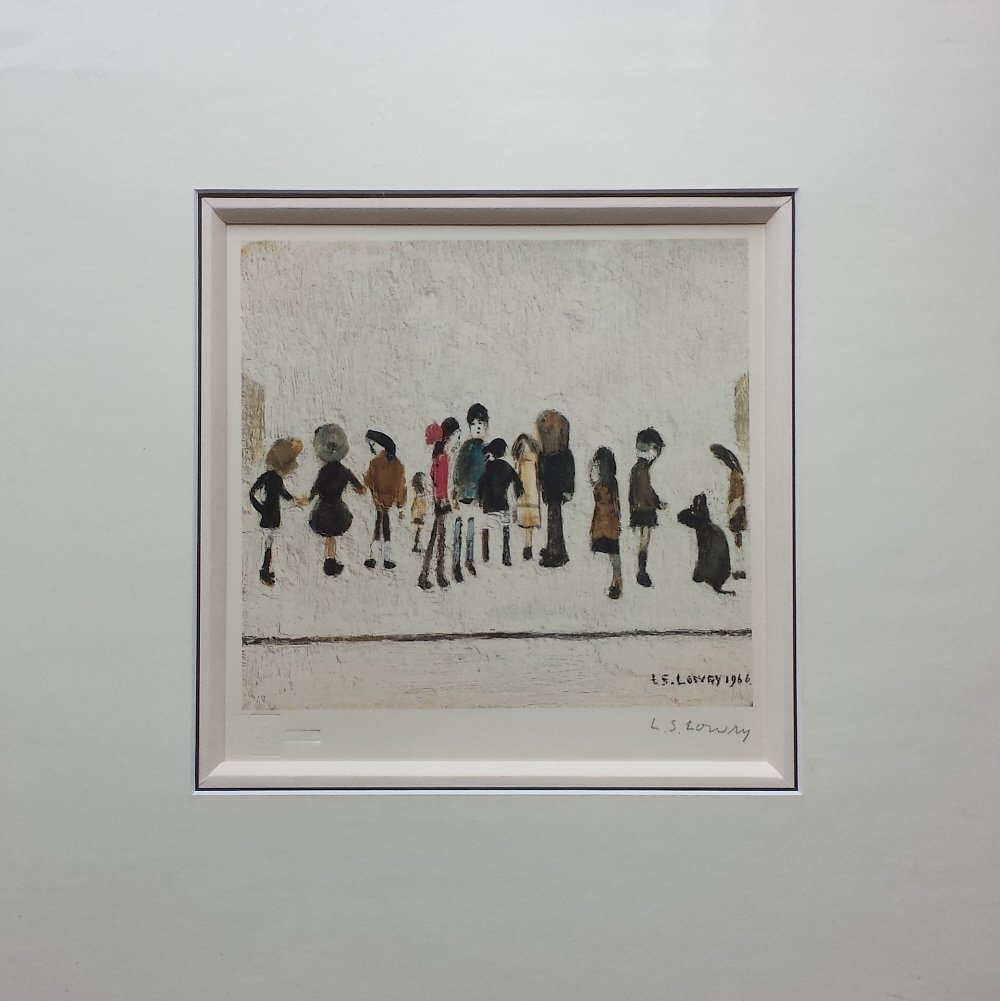 lowry group of children signed print mounted lslowry