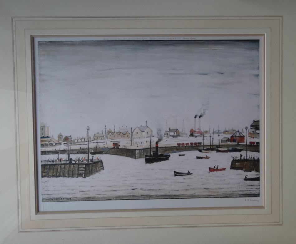 lowry harbour mounted signed print lslowry