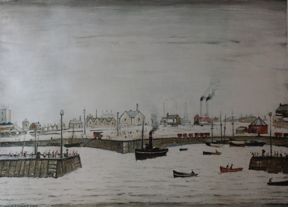 lowry harbour signed print lslowry