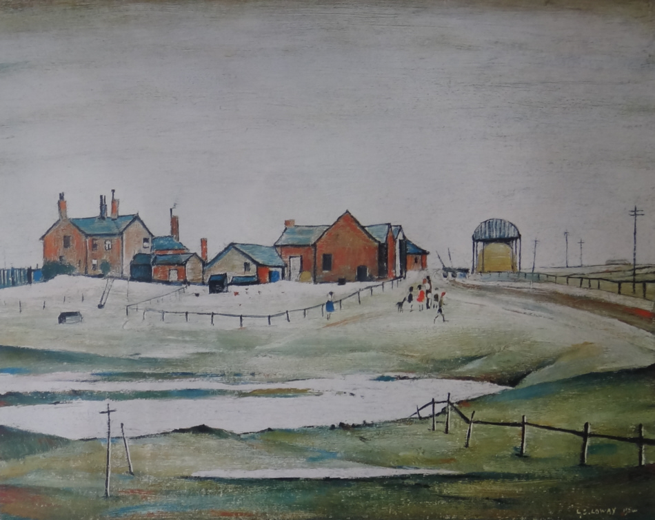 lowry landscape with farm buildings signed print lslowry