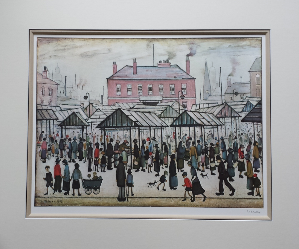 lowry market scene in a northern town mounted