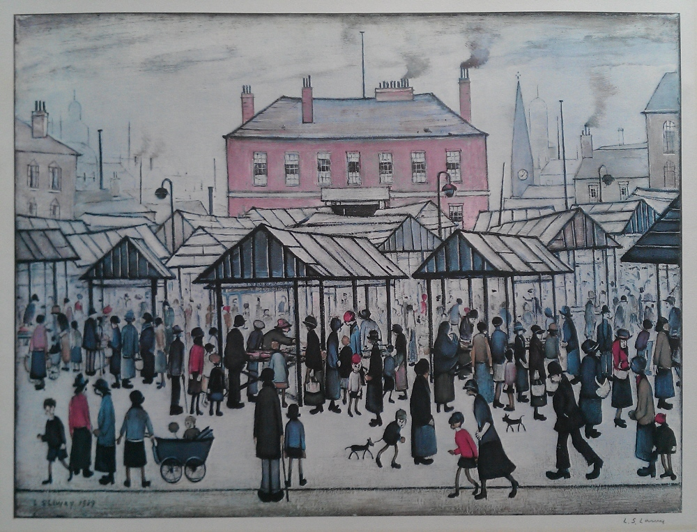 lowry market scene in a northern town