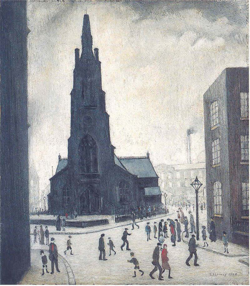lowry st. simon's church, drawing original painting