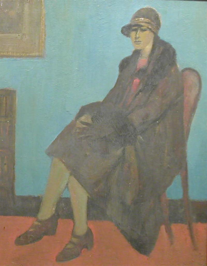lowry, woman in chair, original drawing