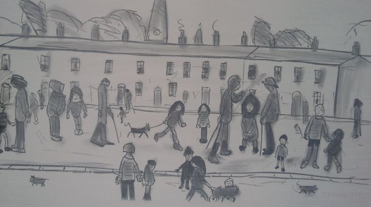 street full of people lowry