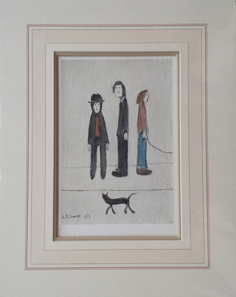 lowry three men and a cat signed print lslowry