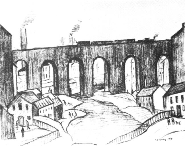 lowry viaduct salford lithograph signed print
