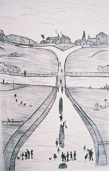 lowry lithograph village on a hill