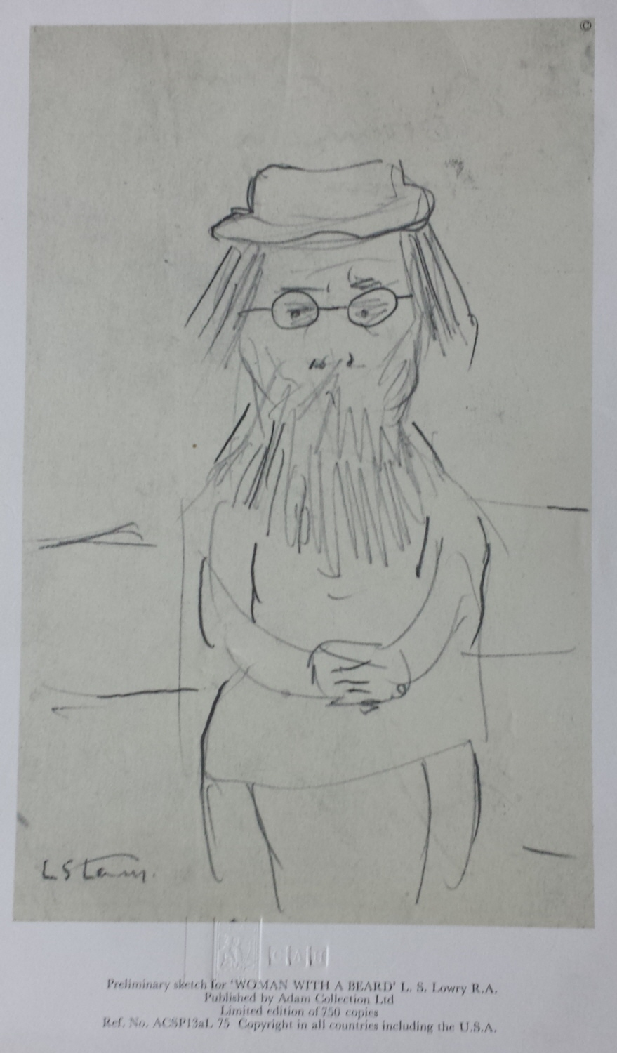 lowry woman with beard sketch signed print lslowry