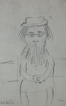ls lowry woman with beard sketch print